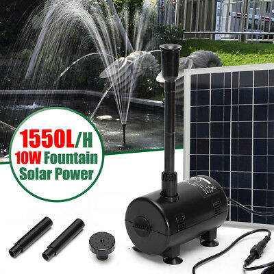 10W Solar Power Fountain Outdoor Garden Pond Submersible Water Pump Kit 1550L/H