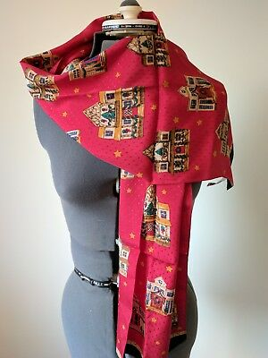 Talbots Rectangle Long Christmas Silk Scarf Excellent!  Decorative Houses Stars