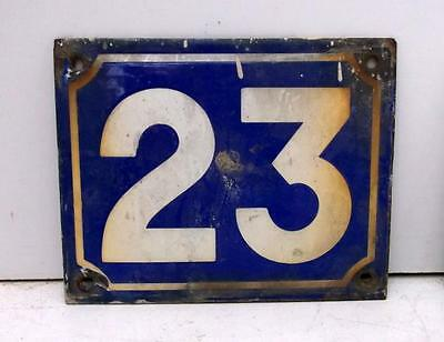 Original Old French Enamel Graniteware House Number Plaque 23   !