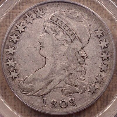 1808 O.102a Capped Bust half dollar, PCGS F15 OGH, a VF now   DavidKahnRareCoins