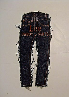 Original Scarce Vintage Lee Cowboy Pants Advertising Blue Jeans Patch ~ L@@k ~
