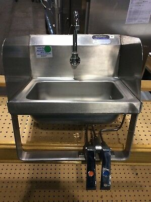 """AMTEKCO DH-19  17"""" x 15 1/2"""" STAINLESS STEEL HAND SINK WITH KNEE VALVES"""