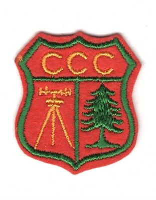 """CCC Cloth Patch:  """"CCC"""" Shield - yellow letters on red felt"""