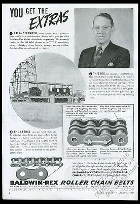 1945 Baldwin-Duckworth oil well drilling chain art and photo vintage print ad