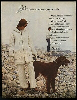 1970 Irish Setter photo Sears women's coat fashion vintage print ad