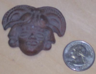 Intact Precolumbian Terracotta Clay Face & Headdress Sculpture