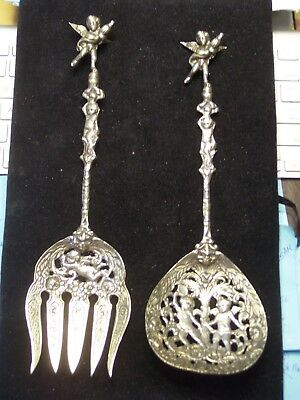 Pair Of Vintage Baroque Unmarked Italian Salad Serving Utensils