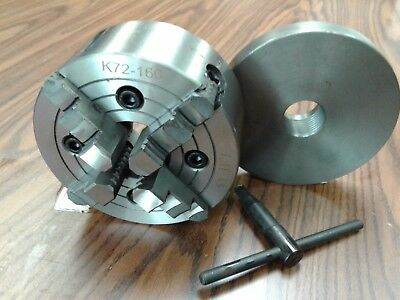 "6"" 4-JAW LATHE CHUCK w independent  jaws w 1-1/2""-8 adapter semi-finish #0604F0"