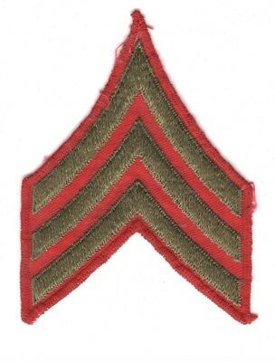 USMC Marine Chevron:  Sergeant, single - WWII era, red twill