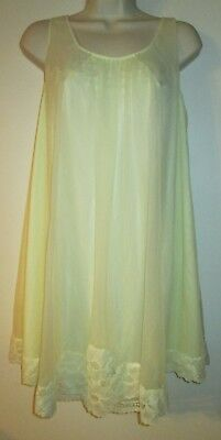 Vintage SHADOWLINE Short NIGHTGOWN S Babydoll YELLOW CHIFFON Floral LACE Gown
