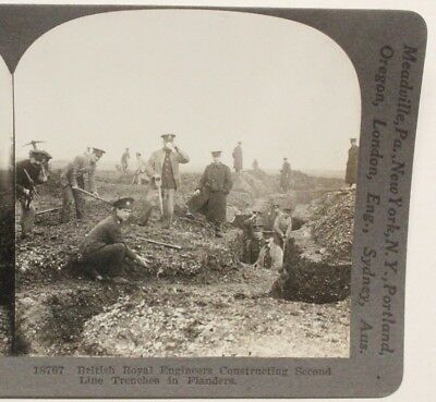 WWI Stereoview card:  British Engineers Constructing Trenches in Flanders