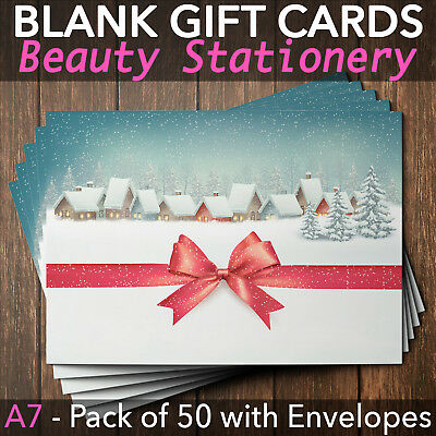 Christmas Gift Vouchers Blank Beauty Salon Card Nail Massage X50 A7+Envelope RR