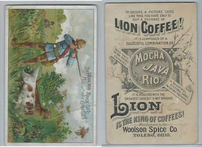 K Card, Lion Coffee, 1890's, Hunting Scene With Dogs