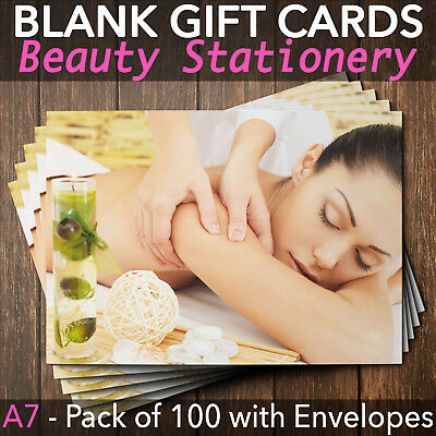 Gift Voucher Card Beauty / Massage and Spa Salons - x100 + Envelopes MAS2