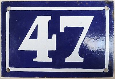 Old blue French house number 47 door gate plate plaque enamel metal sign c1950