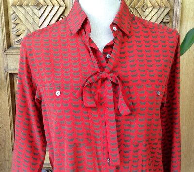 Vintage Womens Silk Blouse Red Gray Dogs Print Shirt Top Long Sleeve