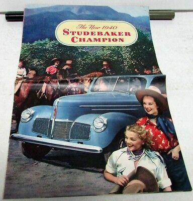 1940 Studebaker Champion Sedan Coupe Color Sales Brochure Original