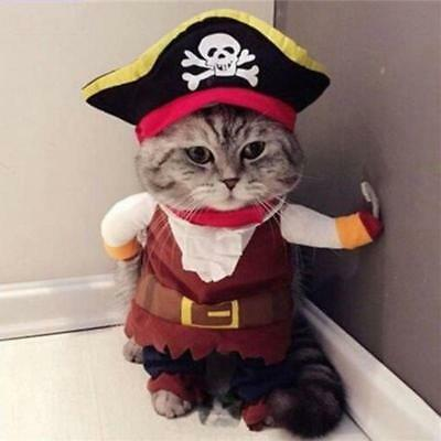 Pet Small Dog Cat Pirate Costume Outfit Jumpsuit Clothes for Halloween X-mas SS