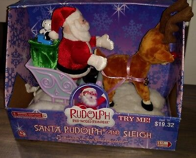 Gemmy Vintage Rudolph And Santas Sleigh Animated Light Up Singing Plush Toy