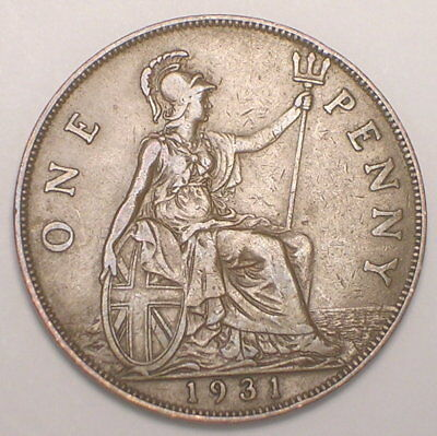 1931 UK Great Britain British One 1 Penny George V Coin VF+