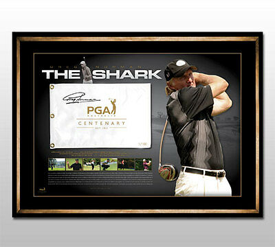 Greg Norman Hand Signed Framed The Shark Pga Golf Flag Limited Edition Scott