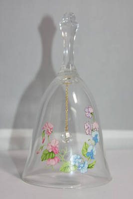 Vintage 1980s Avon Glass Lead Crystal Birthday Bell for April w/Painted Flowers
