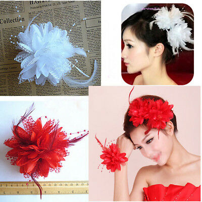 Dia 12cm Beautiful Lace Pearl & Feather Flower Hair Clip/Corsage/Brooch Wedding
