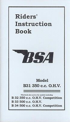 BSA Instruction manual B31 B32 B33 B34 and Competition models Rigid frame Book