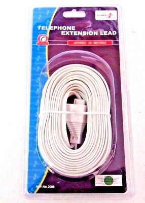 20m Long  Flat Slimline Telephone Phone Line Extension Cable BT Virgin Fax