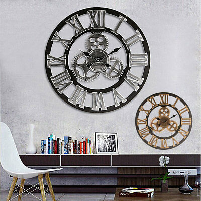 Roman Arabia Numerals Large Gear Wall Clock Vintage Rustic Wooden Luxury Decor
