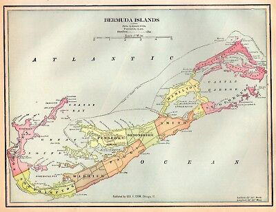 1901 Antique Bermuda Map Original Map of Bermuda Gallery Wall Art 4288