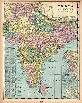 1900 Antique INDIA Map Original Vintage Map of India Gallery Wall Art 4290
