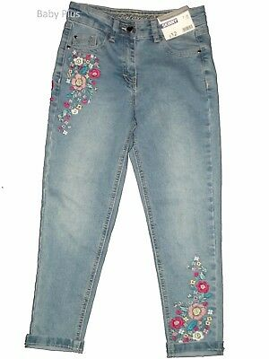 bnwt girls ex store skinny flower jean adjustable waist 4,5,6,7,8,9 yrs