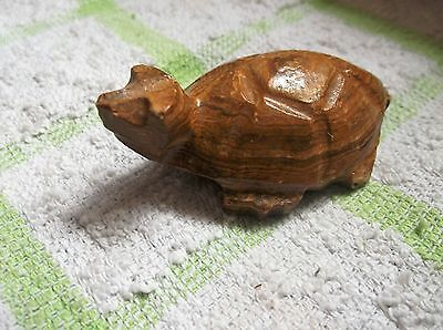 Unusual Small Polished Stone / Rock In Shape Of Turtle Ochre Grains Restored