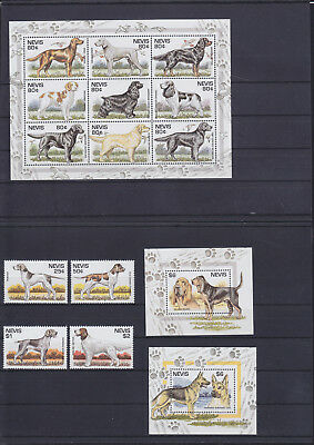 055879 Hunde Dogs Nevis 894-906 + Block 89/90 ** MNH Year 1995