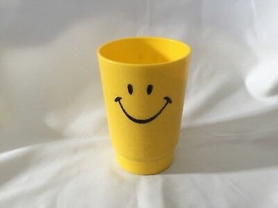 Vintage 1970's Smile Face Plastic Yellow Cup