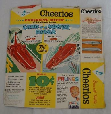 2- 1962-63 Cereal Box Backs, Cheerios & Crispy Critters, Toy Premiums