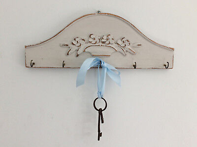 Antique Vintage French Farmhouse Carved Wooden Key Holder Cup Hooks Wall Plaque