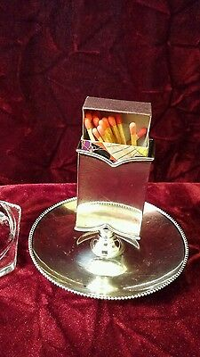 ANTIQUE STERLING ASH TRAY / MATCHBOX HOLDER, Shabbat, Unity Candles, etc