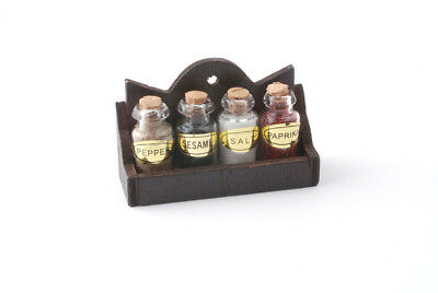 Dolls House Miniature: Set of 4 Spice Jars in a Wooden Rack : 12th scale