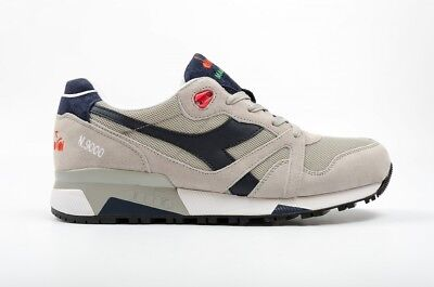 Diadora N9000 Italia Mens Gray Mesh & Suede Athletic Lace Up Training Shoes
