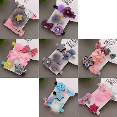 5pcs/set Kids Baby Girl Hair Clips Bow Hairpin Headband Headwear Accessories New