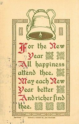 """Vintage,Arts & Crafts Postcard,""""For the New Year. All Happiness..."""",Used,1911"""