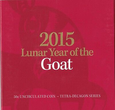 2015 50c Lunar Year of the Goat Tetra-decagon Unc Coin - in red folder