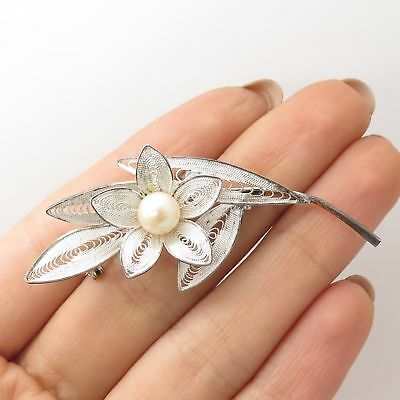 Vtg 925 Sterling Silver Real Pearl Filigree Handmade Floral Pin Brooch