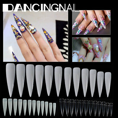 500X Long Stiletto Pointy False Nail Tips 10 SIZE Natural/Clear/White Art Cover