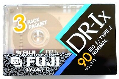 3 PACK - FUJI DR-Ix 90 NORMAL POSITION TYPE I BLANK AUDIO CASSETTE TAPES