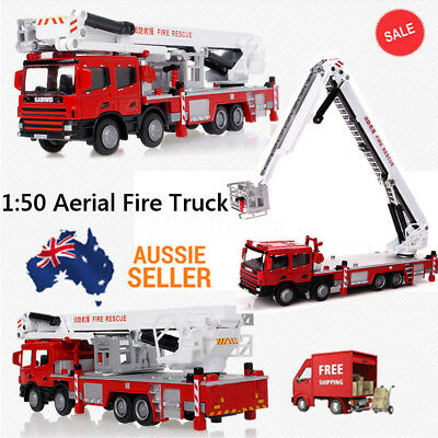 1:50 Diecast Aerial Fire Truck Construction Vehicle Cars Model Scale Toys AU