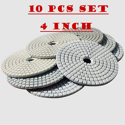 Diamond Polishing Pads 4 inch Wet/Dry 10 Piece Set Granite Stone Concrete Marble