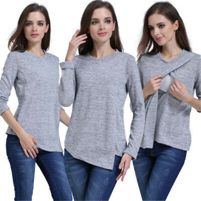 USA Long Sleeve Breast Feeding Nursing Tops Maternity Clothes Pregnant Women Tee